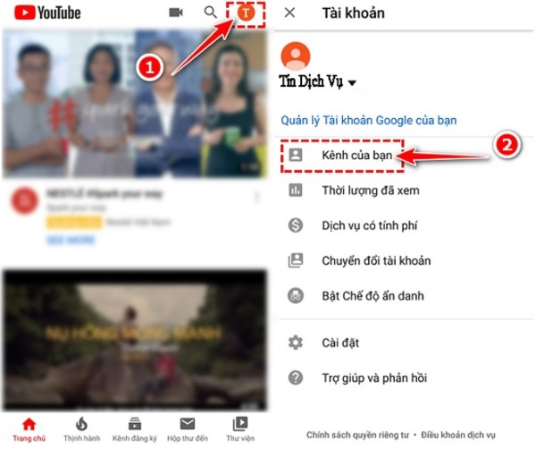 Cách tạo kênh youtube trên điện thoại