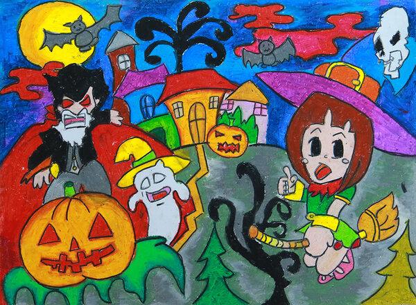 vẽ tranh đề tài lễ hội Halloween